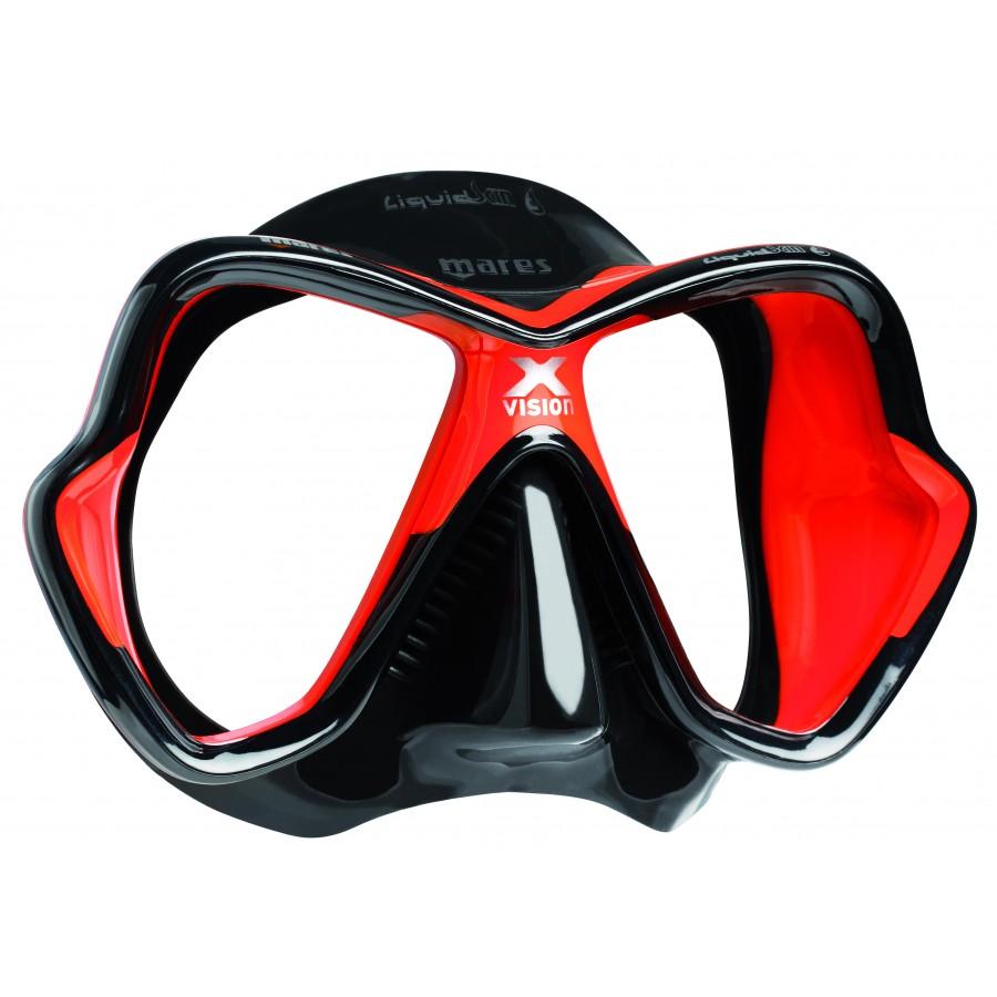 Máscara de Mergulho Mares X-Vision Ultra Liquidskin - Preto e Vermelho