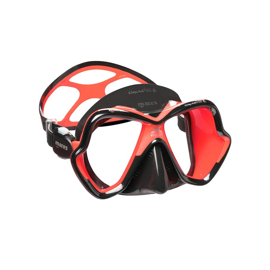 Máscara de Mergulho Mares X-Vision Ultra Liquidskin - Preto e Vermelho Mergulho Scuba