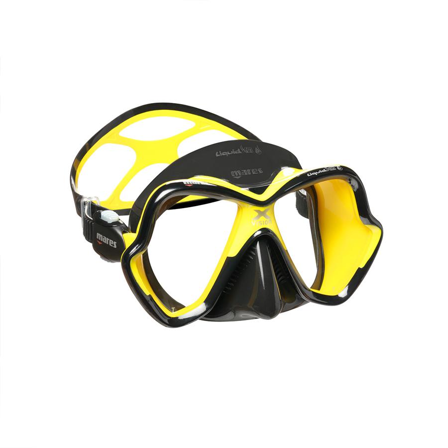 Máscara de Mergulho Mares X-Vision Ultra Liquidskin - Preto e Amarelo Mergulho Scuba